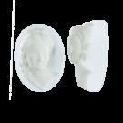 Mooie camee wit lichtgrijs 18mm ovaal