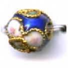 Cloisonne kralen 6mm blauw met goud rond