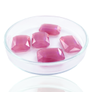 Fancy stones glas 18mm roze ab coating transparant rechthoek