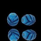 Kralen ovaal 13mm glaskralen blauw met donker blauw
