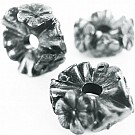 Kunststof kraal ring met bloemen 25mm rond oudzilver