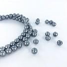 Glasparels 6mm parel kralen rond grijs