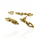 Sluiting voor sieraden met schuif klik systeem verguld