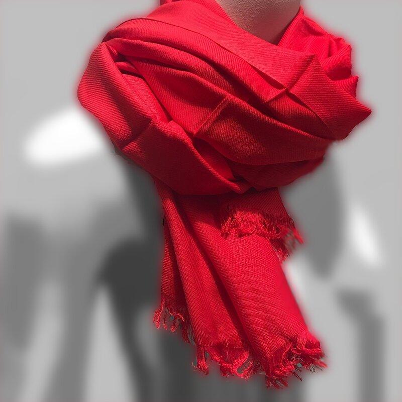 Sjaal dames heren zacht pashmina viscose zijde rood